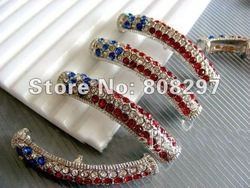 American Flag Curved Side Ways Crystal Rhinestones Beads Round Bar Bracelet Connector Fittings 50PCS/LOT(China (Mainland))