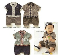 2012 summer baby boy romper 100% cotton navy style short sleeve grid romper for 1~4Y free shipping wholesale drop shipping