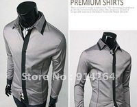 Free shipping 2012 New Mens Shirts Casual Slim Fit Stylish Dress Shirts SIZE M/L/XL/XXL