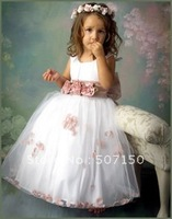 Free shipping  children's clothes 2014 hot selling girls pageant dress white color size 2t-8t
