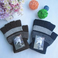free shipping wholesale12pair/lot Male fine stripe semi-finger gloves wool thermal gloves lucy refers to sports gloves
