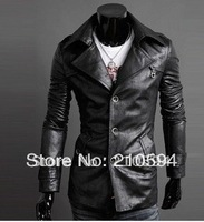 2014  Man fur big turndown single breasted quality washed PU leather man cultivate one's morality grow fur clothing