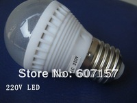 AC220v 1W 5050 SMD 6LED Ball Bulb Lights E27 LED Lamp, Warm White/White Super Bright  Led Lighting Free Shipping 15pcs/lot
