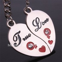 "Free shipping (40PR/LOT )Wholesale  ``true love"" with diamond Alloy Lover Couples Keychains  Key Chain ring valentine gift"