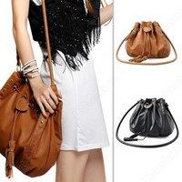 Shoulder Bags Women Lady Pu Leather Bucket Crossbody Messenger Bags Tassels Handbag Purse Hobo Black Brown Color Bag 000F