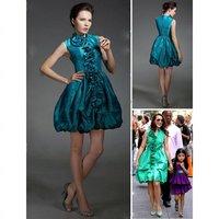 Free shipping Kristin Davis A_line High Neck Short/ Mini Taffeta Sex and the City/ Evening Dress 01143
