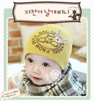 Wholesale 10pcs cute wings baby cap Kids hats Cotton Beanie Infant hat children baby Hat