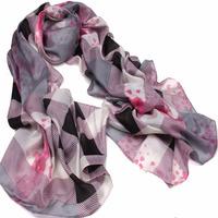 SCARF Silk  muffler  cape fashion color block decoration plaid silk  chiffon long silk  Shawl Scarf Free Shipping