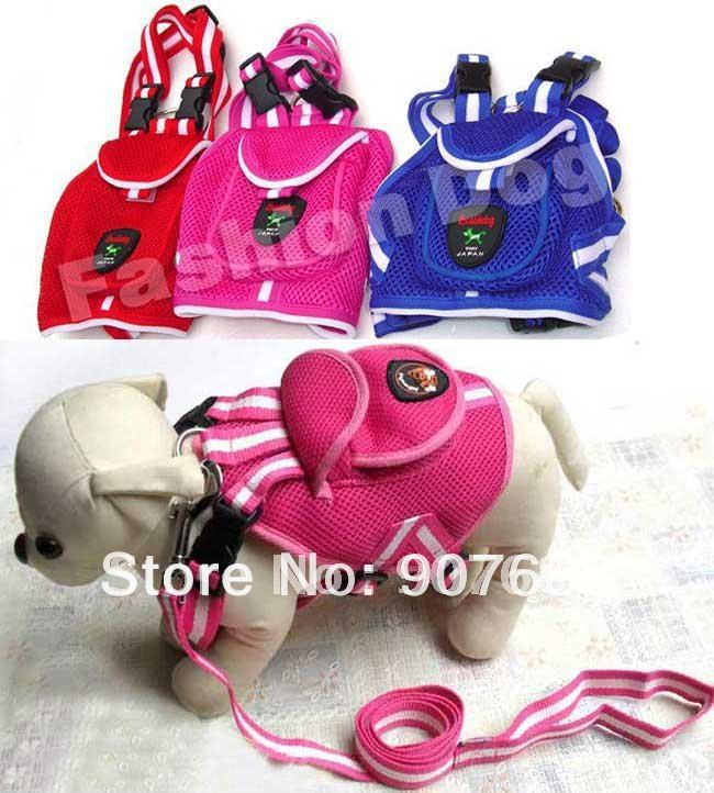 Fashion Cute Pet Dog Backpack Travel Training Bag Harness with Leashes Set Size S M L Free Shipping V3450(China (Mainland))