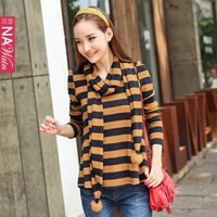 2012 autumn slim casual stripe t-shirt