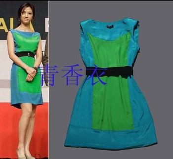 Spring and summer colorant match o-neck vest one-piece dress belt formal dress