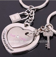 "Free shipping (40PR/LOT )Wholesale Alloy ""Ture Love""Heart Shape lock and key Lover Couple Keychain Personalized Key Chain"