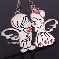 "Free shipping (40PR/LOT )Wholesale Personalized ""Kiss angel""  Lover Couple Keychain Alloy buy keychains online"