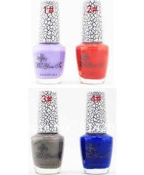 10 Bottles/Package New Mixed Colors 15ml Nail Art Polish Cracking Nail Varnish free shipping