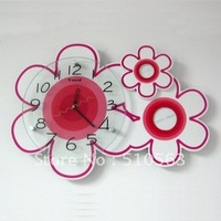 gz023 HOT 1pcs European modern creative sitting room art pink flowers mute decorative wall clock/wall clock movement mechanism