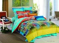 reactive sanding 4pcs fresh yellow blue graffiti stripe mordern pattern bedding comforter King/Full/Queen bed quilt covers sets