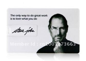 4GB 8GB 16GB 32GB Steve Jobs Credit Card Shaped USB Flash Drive 2.0 Memory Stick