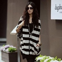 FREE SHIPPING NEW batwing sleeve sweater female cardigan women outerwear black and white stripe plus size medium-long9066