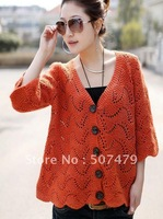 Clothing 2014 Spring and Autumn Cutout Sweater Women's Loose Three Quarter Sleeve Cardigan Outerwear Tops