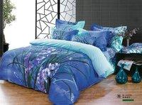 New Beautiful 4PC 100% Cotton Comforter Duvet Doona Cover Sets FULL / QUEEN / KING SIZE bedding set 4pcs blue nice flower