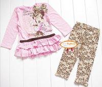 Комплект одежды для девочек 2012 Winter cartoon Minnie mouse 2 pc sets clothing suit bow tunic+leggings 100% cotton 2T-4T