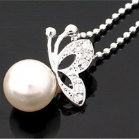 A1206 accessories 2011 song diamond butterfly pearl necklace