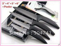 Ceramic knives set 3 INCH + 4 INCH + 5 INCH + 6 INCH + 1 Peeler Kitchen Knife Black 5PCS/SET/LOT NEW