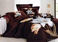 New Beautiful 4PC 100% Cotton Comforter Duvet Doona Cover Sets FULL / QUEEN / KING SIZE bedding set 4pcs coffee flowers WP-46675
