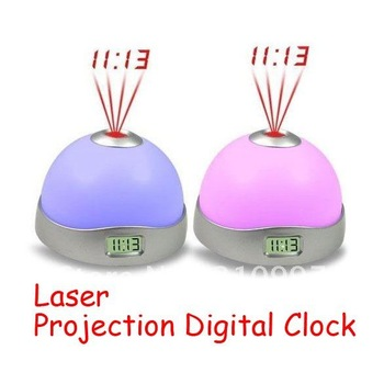Free Shipping Laser ProJection Clock Digital 7 Color Led Alarm Table Clock
