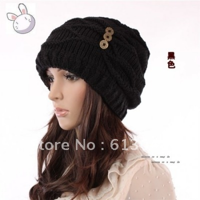 FREE SHIPPING female winter knitted hat women full wool knitted hat ear protector cap winter 4 colors(China (Mainland))