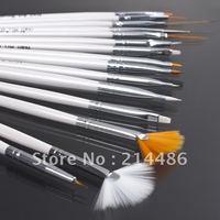 Set of 15 nail art pens, brushes for design & painting White