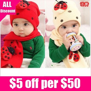 Free shipping cotton cute  beetle  winter baby hat and scarf set  for boy and girl 3 colors 10set /lot wholesale