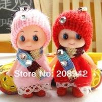 Korean Dolls Plush Toys Very Cute Scarfs Mini Dress Fashion Doll Phone Strap Wholesale Free Shipping,20 pcs/lot