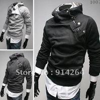 Free Shipping 2012 New Men Korean oblique zipper metal buckle Fleece thickened hooded men sweater