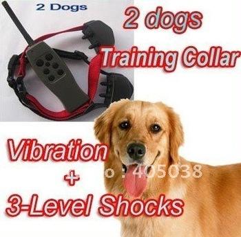 VIBRATION  STATIC SHOCK  6 LEVELS SMALL/MEDIUM/BIG STUBBORN DOG REMOTE TRAINING COLLAR FOR 2DOG