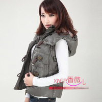 Big ! 2012 women&#39;s short design horn button sleeveless with a hood down vest female