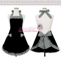 Free shipping Korean fashion floral cotton lattice bow apron three colors kitchen aprons