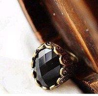 Free shipping Vintage bronze plated black gemstone ring,rhinestone finger ring,size 8   24pcs/lot  EKE1036
