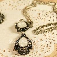 Min. Order is $10(mix order) Fashion Necklace Metal carved Pendant Long Design Drop Gem Necklace YWJR665
