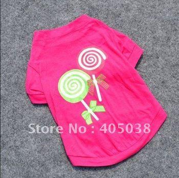 30pcs freeshipping Pet Dog Summer T Shirt  Sugar-loaf Printing Puppy Rose Red Clothes dog  t-shirt