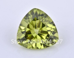 Geniune loose Gemstone Triangle Brilliant Cut Olive Peridot stone Fashion Jewelry Findings for Accessories CS002, Size 6x6mm(China (Mainland))