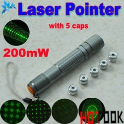 Dropship laser pointer green Stylish star 200mw 5 in 1 5pattern Caps pen laser point with charger -- free shipping(China (Mainland))