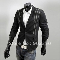 free ship leisure suit men fashion slim fit single breasted blazer suit multi zipper design casual suit black gray M L XL XXL