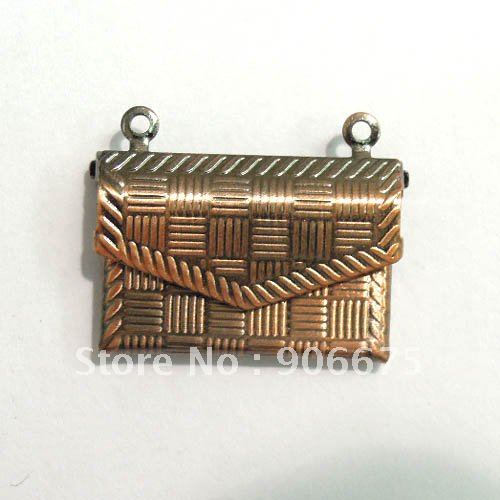 Vintage Antique Copper Tone Handbag Wallet Picture Photo Frame Locket Pendant for Diy Necklace Jewelry Wholesale Free Shipping(China (Mainland))