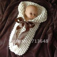 Free shipping baby sleeping bag handmade crochet baby sleeping bag photography props