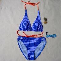 Free shipping Sky Blue stripe print bikini ladies swimwear women's swimsuit bikini bathing suit with contrast orange stripe