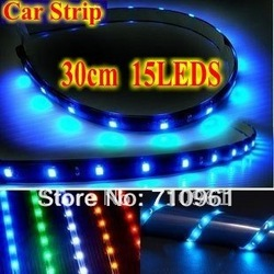 Free Shipping Wholesale Car strip Wterproof 1210 30cm 15SMD 3M Self Adhesive LED Strip Lights(China (Mainland))