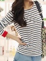 2013 Spring New Fashion Women T-Shirts Casual Tops tee for Ladies Long Sleeve Cotton Plus Size XXXL Blue Striped