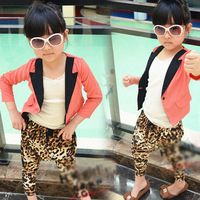 Free Shipping Chiffon three quarter sleeve female child blazer leopard print pp pants autumn new arrival Wholesale