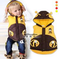 winter Hooded Vest animal style Bee / Ladybug Children's Clothing Boys Fleece outerwear Waistcoat